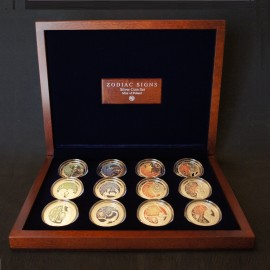Set of Zodiac Signs Coins in a Luxury Wooden Box